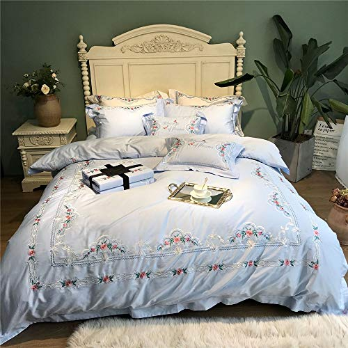 RENYAYA 60S Egyptian Cotton Stickerei Kleine frische Bettgeset 4Pcs King Queen Size Bed Sheet Set Duvet Deckel Pillowcases Sheets,220 * 240cm (König Cotton Bed Sheet Sets)