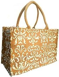 Jivisha Creations Beach Blue Design - Women's/Girl's Jute Bag/carry Bag/travel Bag/shopping Bag/lunch Bag/tiffin...