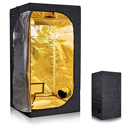 dicn Grow Tent 80x80x180 cm / 32x32x71 inch Hydro Box Lightproof Waterproof Hydroponic Indoor Bud Green Room Grow Room Dark Room Gardening Planting Hydro Box 600D Oxford Mylar Silver