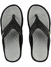 Edee Unisex Black & Grey Slipper & Flip Flops