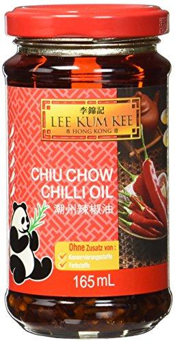 Lee Kum Kee Chili Öl Chiu Chow (aus China, pikant, sehr scharf, ohne Konservierungsstoffe, ohne Farbstoffe, vegan) 1 x 165 ml