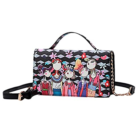 Women's Shoulder Bags, OverDose Colorful Girls Print Messenger Bag (20 x 6 x 12cm, Black)
