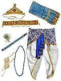 #9: Pakhi Little Krishna Dhoti Dupatta Set - Ivory and Royal Blue (18 - 24 months)