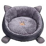 Ksweet Comfort Plüsch Katzenbett Rund aus Tier-Shape Leicht Haustierbett Kissen Katzenkorb für Katzen Bett Waschbar (L-48cm for 4-5kg pet, Grau)
