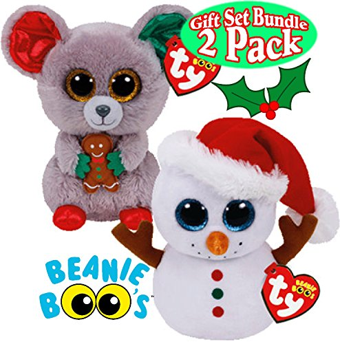 """Beanie Boo Christmas 2 Pack - Scoop the Snowman & Mac Mouse - 15cm 6"""""""