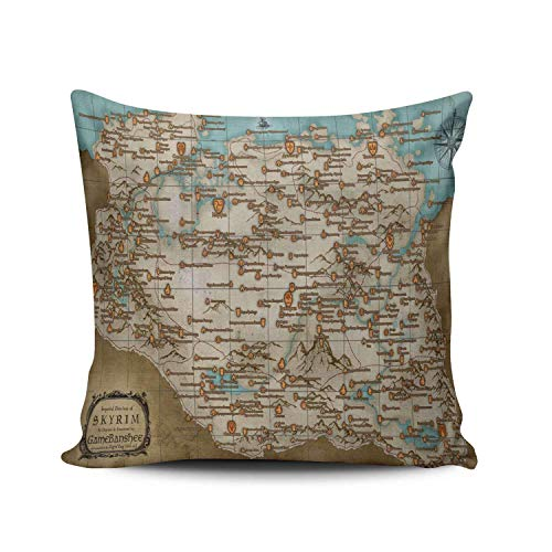 Not afraid Decorative The Elder Scrolls V Skyrim Map Square Pillowcases Royal Personalized Throw Pillow Covers Cases 18x18 Inches One Sided - Stuhl Navy Computer