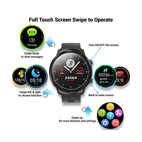 CatShin Smart Watch Tracker de Actividad, Pantalla táctil smartwatch Fitness Tracker, Reloj Deportivo Bluetooth IP67 a Prueba de Agua con Monitor de frecuencia cardíaca, Compatible con Android iOS 2