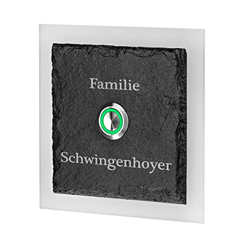 LED Türklingel aus Schiefer und Acrylglas Plexiglas TASTER GRÜN Model Nilgans mit Edelstahlklammer inkl. Gravur Familie (05 Schiefer-grün)