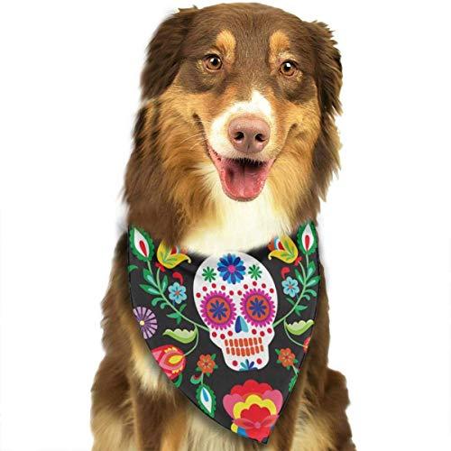 FGJGHKGH Halstuch-Set für Hunde und Katzen, dreieckig, mit mexikanischem Sugar Skulls Tag der Toten Blumen Bedruckt, Halstuch-Set Zubehör für kleine bis große Hunde und Katzen