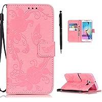 Hülle für Samsung Galaxy S6 Edge Hülle Leder Handytasche, Flip Case mit Schmetterling Blumen Muster Kartenfach... preisvergleich bei billige-tabletten.eu