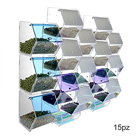 Clear or coloured acrylic candy or grain bin display with 15 containers with reclosable opening and 3 spoon holders Dimensions: 24.8''Wx5.91Dx