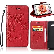 Sony Xperia M2 Aqua (D2403 D2406) Funda de PU cuero resistente Patrón de flores, Ultra Slim PU Cuero Folding Stand Flip Funda Carcasa Caso, Fubaoda Funda para Sony Xperia M2 Aqua (D2403 D2406), rojo