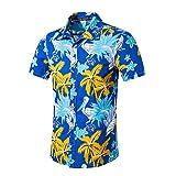 YEBIRAL Herren Hemden Oversize Freizeit Hawaiihemd Polohemd Sommer 3D Druck Slim Fit Kurzarmshirt für Männer Reise Hawaiian Hemd(EU-52/CN-2XL,Blau)