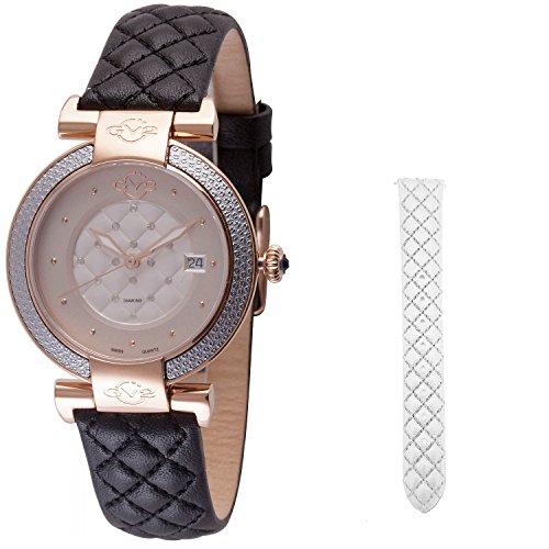 GV2by Gevril berletta para mujer correa de cuero negro reloj de cuarzo suizo de diamante, (modelo: 1504)