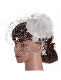 LJ Sombrero - señoras otoño e Invierno Tocado Británico Dama Noble Sombreros  Malla Gasa Material Banquete Boda… d20a8ab26dfd