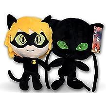 Prodigiosa 2x Peluches Adrien Cat Noir y Plagg 25cm Las aventuras de Ladybug Superhéroes Adrian con