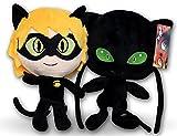 Prodigiosa 2x Peluches Adrien Cat Noir y Plagg 25cm Las aventuras de...