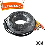 JOOAN 98ft Power Video Cable with BNC RCA connector for CCTC Camera DVR All-in-One Coaxial Video Cord