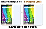 M.G.R.J - Panasonic Eluga Note (Pack of 2) Tempered Glass Screen Protector with 0.3mm Ultra Slim 9H Harness, 2.5D Round Edge, Crystal Clear & Alcohol Prep Pad