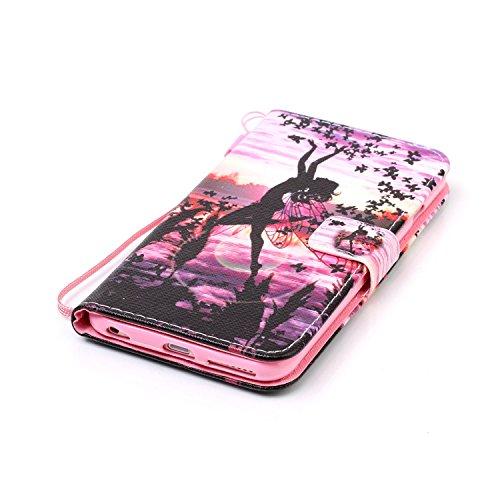 """Für iPhone 6 Plus/6S Plus 5.5"""" Gurt Lederhülle Schutzhülle,Für iPhone 6 Plus/6S Plus 5.5"""" Seil Lanyard Full Body Schutz Tasche Case,Funyye Stilvoll Mode [Bunt Bedruckt] Flip Wallet Case Slim PU Leder  Schmetterling Engel"""
