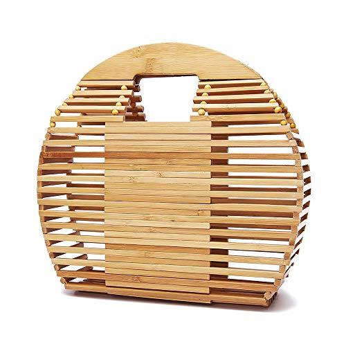 DLDL Bambus-Handtasche für Frauen handgefertigte Top Griff 10,4