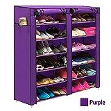 TiedRibbons® collapsible shoe rack | shoe rack foldable metal | folding shoe cabinets | folding shoe stand | foldable shoe rack with cover(118Cm X 120Cm X 30Cm, 12 Racks)