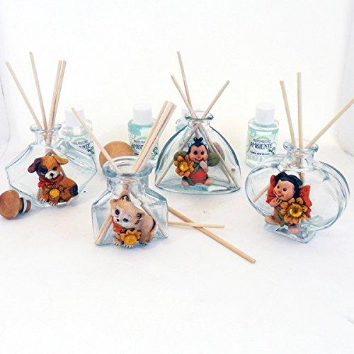 Bomboniere profumatori in vetro con animali assortiti in resina