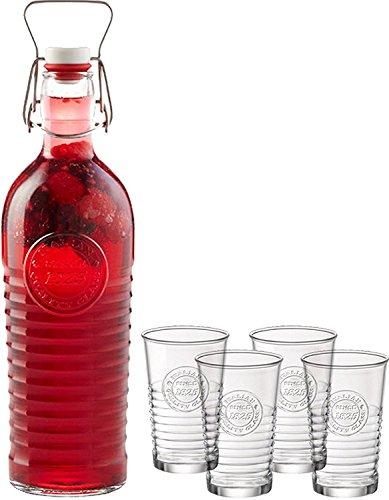 Bormioli Rocco Officina 1825 Kollektion Italienisch 5St. Swing Top Flasche und Tumbler Set, Glas Fliptop Flasche und 4 Trinkgläser, reich verzierten Drinkware für Getränke,