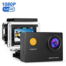 Caméra Sport APEMAN Etanche Embarquée HD 1080P 12MP Action Cam Anti-shake Grand-angle 170° avec Boîtier Etanche et Kit d'accessoires pour Vélo Plongée Natation et des Sports Sous-marin (Noir)