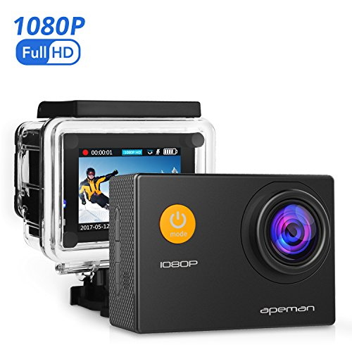 APEMAN Action Cam Full HD 1080P con Custodia Impermeabile Subacqueo...