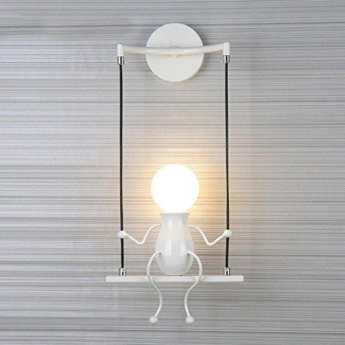 Hanlinlight - lampada da parete moderna, stile applique murale, design semplice, per cameretta dei bambini / corridoio, decorativa, 1 lampadina e27max. 40 w bianco