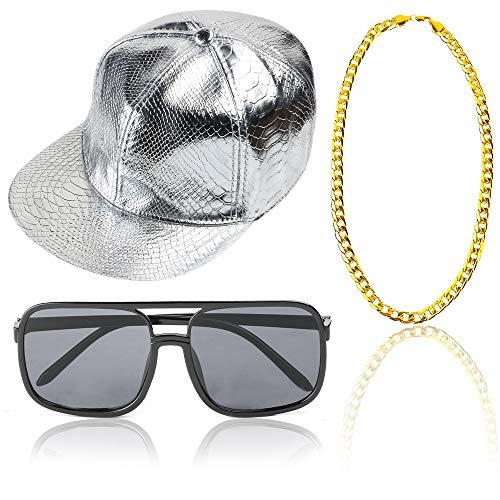 Beelittle 80 / 90er Jahre Rapper Hip Hop Kostüm Zubehör Set einstellbare Feste Flache Krempe Snapback Baseballmütze, Rapper DJ Sonnenbrillen und vergoldete Kette (B)
