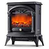 Leisure Zone Portable Electric Fireplace Stove Freestanding Fireplace Heating Stove Indoor Heater with Log Burner Flame 1850W