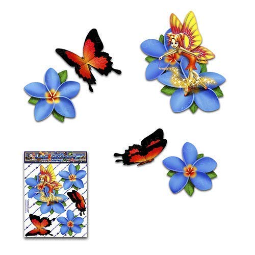 Fee Fantasie Frangipani Plumeria Blaue Blume + Schmetterling Tier Abziehbild Auto Aufkleber - ST00062BL_SML - JAS Aufkleber