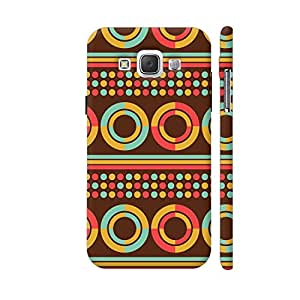 Colorpur African Geometric Retro Pattern On Brown Printed Mobile Back Cover For Samsung Galaxy E5 (Matte Multicolor)