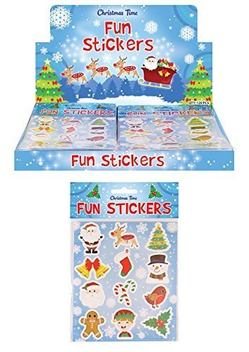 Henbrandt 36 Packs of Christmas Fun Stickers - Great Stocking Filler, Party Bag Filler or Favor