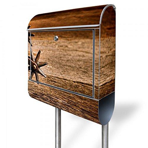 banjado - Standbriefkasten mit Zeitungsrolle Edelstahl Standfuß 38x150x12cm mit Motiv Sporen