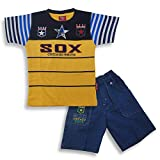 #4: Kid's Care Printed Cotton T-Shirt and Half Pant Set for Boys…(FNK445_3-6 Months_)