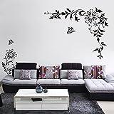 BB.er Schwarzer Diagonaler Blumenrebewandaufkleber Fernsehsofa-Wanddekorationsaufkleber, 15 × 24cm