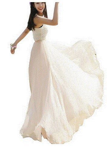 ZEARO Nuevo Bohemio Mujer Falda Largo Brillante Falda de Gasa 8 Colores (blanco)