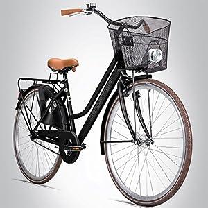 Bergsteiger Amsterdam 28 Zoll Damenfahrrad, ab 150 cm, Korb, Fahrrad-Licht,...