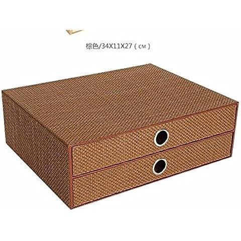 AQPDJ Desk 2 cassetto a4 file cabinet cosmetici detriti gioielli scatola di archiviazione ammettere cartuccia , piccolo marrone
