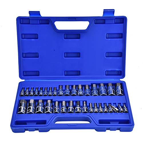 Innensechskant,34Pcs Inbusschlüssel Sechskantschlüssel Bit Socket Kit Repair Tool Set 1/4