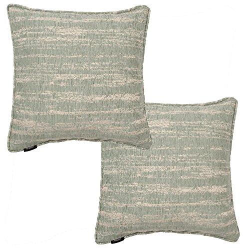 McAlister Textiles Strukturierter Chenille | 2er Packung Kissenbezüge für Sofakissen mit metallischem Glanzeffekt 40cm x 40cm in hellem Blau | Deko Kissenhülle für Sofa, Couch, Bett, Kissen - Strukturierte Chenille