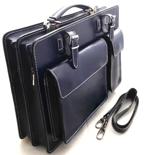 Borsa A Tracolla Ventiquattrore Ctm Arancio Porta Documenti Uomo, 38x29x11cm, 100% Vera Pelle Made In Italy Blu