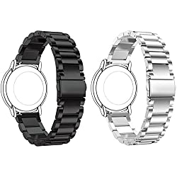 Set of 2 Turnwin Replacement 3 Beads Stainless Steel Bands for LG LGW110 G Watch R Smartwatch (Black+Silver)