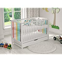 White Colourful Wooden Baby Cot Bed with Drawer 120x60cm & Free Deluxe Aloe Vera Foam Mattress + Safety Wooden Barrier + Teething Rails