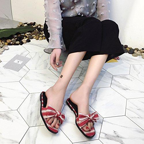 ZYUSHIZ Bow Tie Sandalen Frau Open Toe Die Rechtschreibprüfung Farbe Wild Freizeit Hausschuhe 35EU