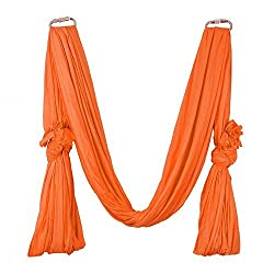 Pellor 6M Elastic Stretchable Aerial Air Flying Pilates Yoga Hammock With 1M Extend Belt And Installation Screws (Orange),