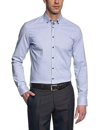Seidensticker Hemd Uno Super Slim Button-Downkragen in Langarm (67,5cm) Bügelleicht blau, Kariert, Größe 36 - XS